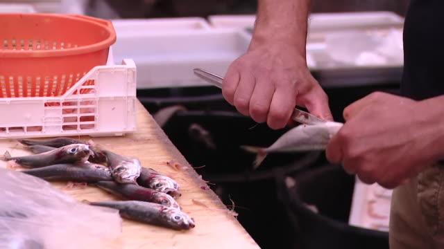 Fishmongers preparing fish in Catania Market Sicily