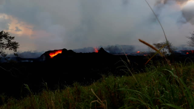 fissure 15 and 22 have significantly slowed since early morning today, pausing pahoehoe lobes which were encroaching onto pgv's property. one state... - lobe stock videos & royalty-free footage