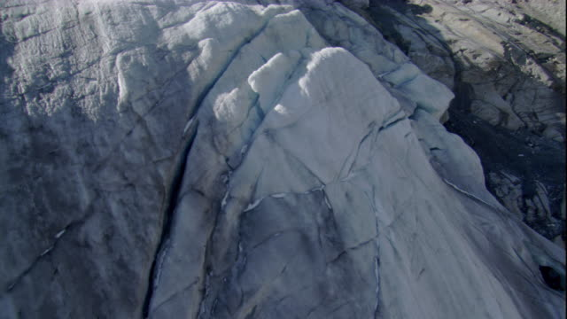 fissures criss-cross the terminal edge of a glacier in the austrian alps. available in hd. - austria stock videos & royalty-free footage