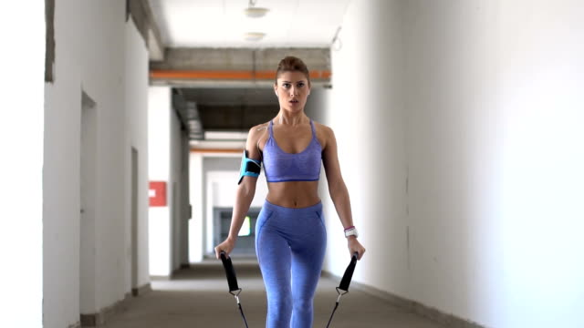 fit blonde woman exercise - sports training drill stock videos & royalty-free footage