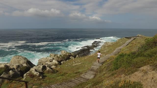フィット女性に見事な海岸のパスに沿って実行します。 - アスレチック点の映像素材/bロール