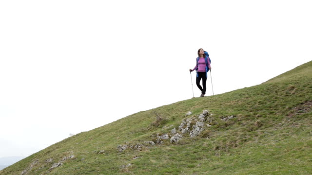 fit hiker girl on top of the mountain - man made object stock videos & royalty-free footage
