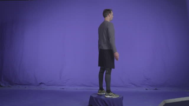 Fit Man Spinning. Full Body Spots Chroma key