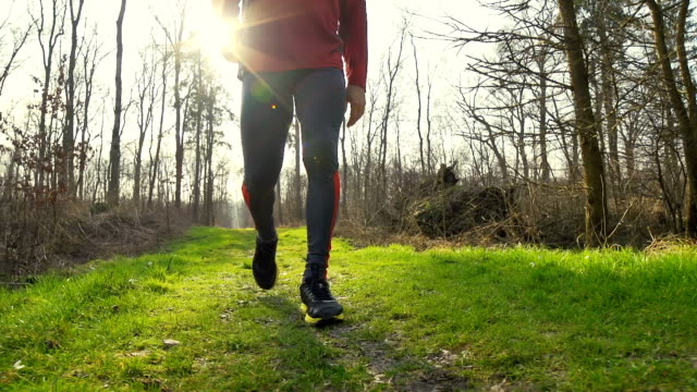 HD SLOW-MOTION: Fit Man Walking In Nature