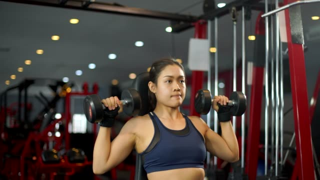 fit sporty woman does dumbbell curl exercises in gym - bicep stock videos & royalty-free footage