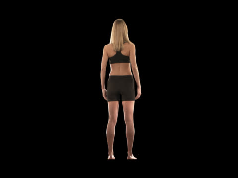 fit woman rotating--full body - this clip has an embedded alpha-channel - full length stock videos & royalty-free footage