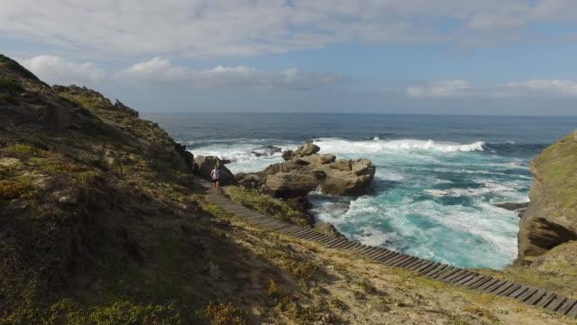 海岸のパスに沿って実行しているフィットの女性 - アスレチック点の映像素材/bロール