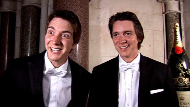 fitflop shooting stars benefit ball in london oliver and james phelps interview sot on life after harry potter / had time of lives playing at... - oliver phelps stock videos & royalty-free footage