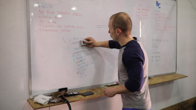 fitness instructor changing plan of exercises - whiteboard stock videos & royalty-free footage