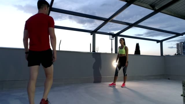 Fitness instructor having a class