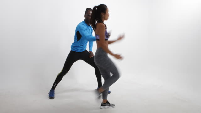Fitness training in a photo studio in Berlin