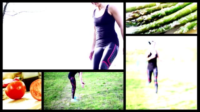 fitness woman split screen