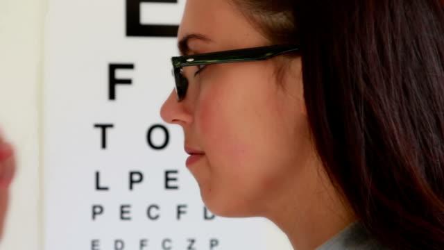 Fitting spectacles, eye test girl.