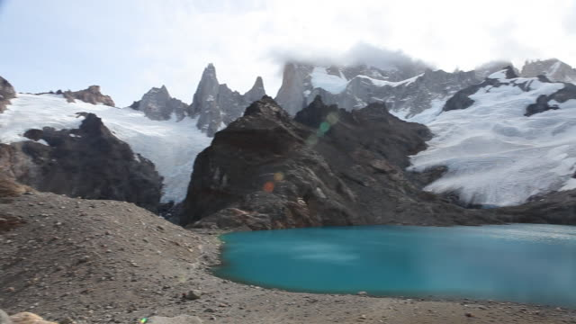 fitz roy and laguna de los tres panorama in patagonia in argentina - climbing equipment stock videos & royalty-free footage