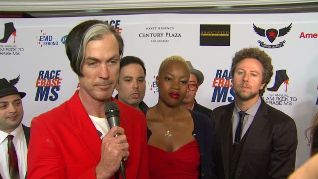 fitz the tantrums on being a part of the night what we can expect from their performance at 19th annual race to erase ms glam rock to erase ms on... - race to erase ms stock videos and b-roll footage