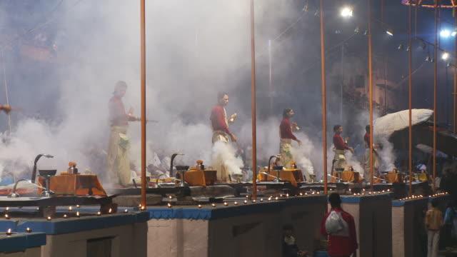 Five Brahmin Priests reform arti  with smoke with incense