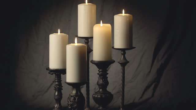 five candles on dark canvas - pastor stock videos & royalty-free footage