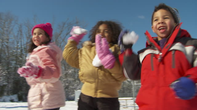 cu ms five children (4-5, 6-7) having snowball fight, richmond, virginia, usa - exhilaration stock videos and b-roll footage