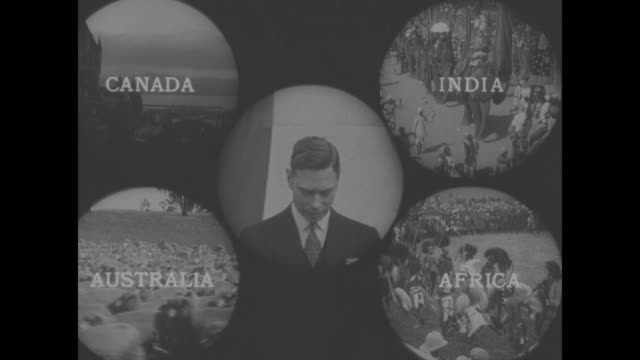 center king george vi surrounded by scenes from canada india australia and africa - george vi of the united kingdom stock videos & royalty-free footage