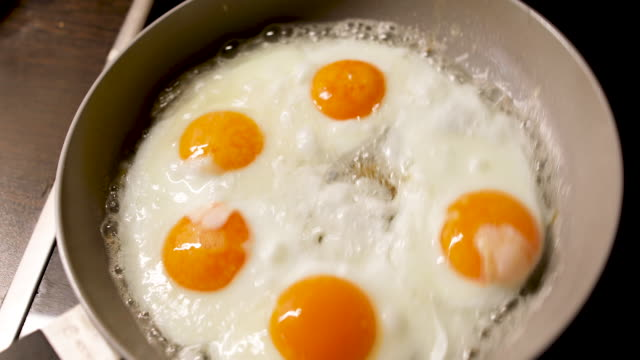 five eggs in a pan - five objects stock videos & royalty-free footage