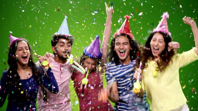 five friends celebrating birthday party - party hat stock videos and b-roll footage
