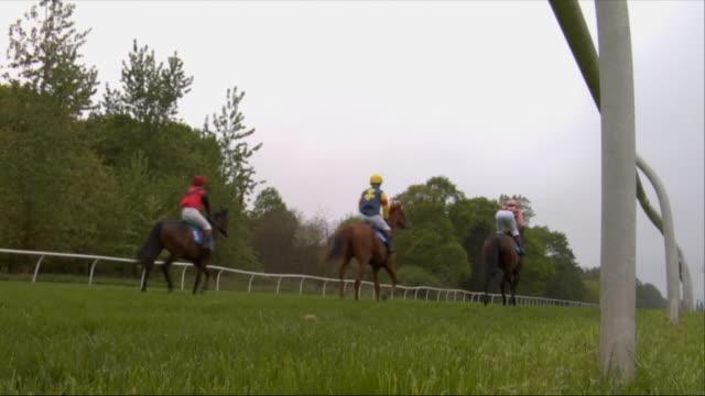 sm la ws five jockeys on horses running during race at newbury racecourse / newbury, england, uk - newbury england stock videos & royalty-free footage