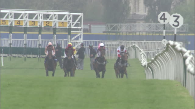 slo mo ws five jockeys on horses running out of gates at start of race at newbury racecourse / newbury, england, uk - berkshire england stock videos and b-roll footage