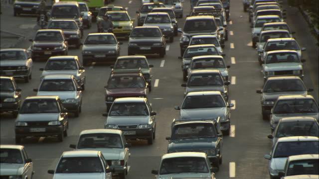 ms ha five lanes of heavy, rush hour traffic / teheran, iran - teheran stock videos & royalty-free footage