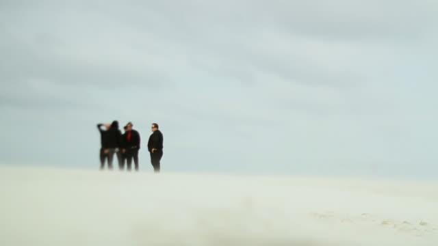 slo mo ws ls five men talking on beach in distance / jacksonville, florida, usa - nur männer stock-videos und b-roll-filmmaterial