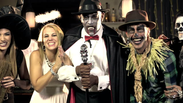 five multi-ethnic adults at costume party - stage costume stock videos & royalty-free footage