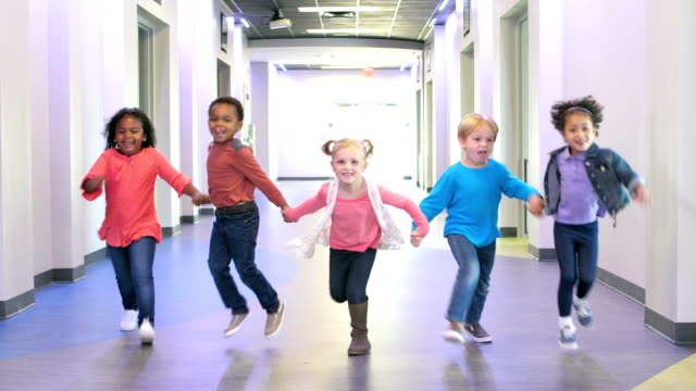 five multi-ethnic preschool children holding hands - preschool child stock videos & royalty-free footage
