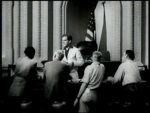 five 'oscars' standing w/ shadows bg frank capra on set cu script 'mr smith goes to washington' ws capitol building ws congress in session - frank capra video stock e b–roll