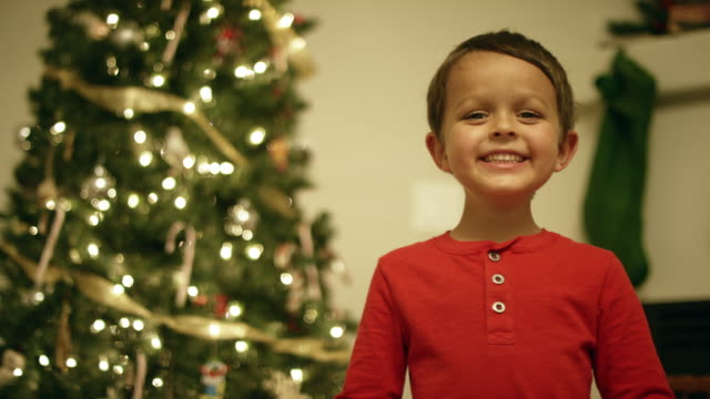 a five year-old caucasian boy with a red shirt smiles and laughs in front of a christmas tree - stockings stock videos & royalty-free footage