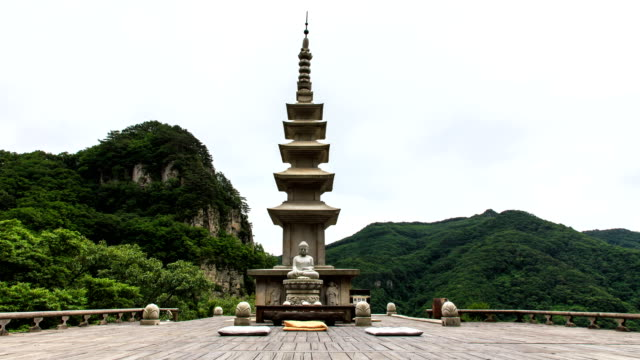 five-storied stone pagoda at cheongnyangsa temple in cheongnyangsan mountain / bonghwa-gun, gyeongsangbuk-do, south korea - pagoda点の映像素材/bロール