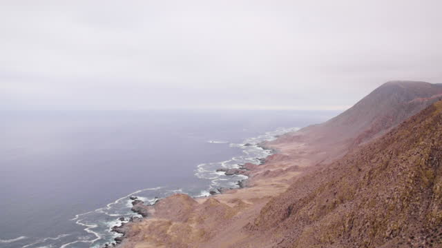 fixed shots of the shore of pan de azœcar national park from the height of the sierra vicu–a mackenna. the pacific ocean and the camanchaca are... - atacama region stock videos & royalty-free footage