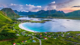 AERIAL: Fjord with picturesque beach at the Lofoten Islands in Norway