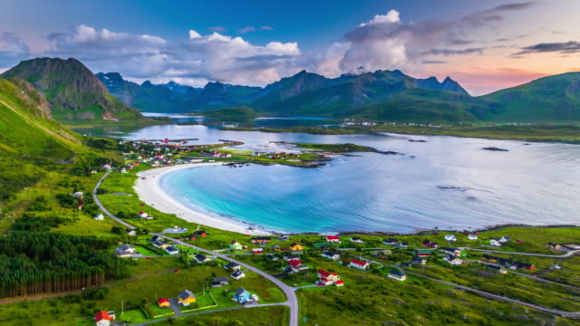 aerial: fjord with picturesque beach at the lofoten islands in norway - norwegian sea stock videos & royalty-free footage