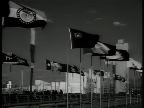 la ms flag '1939 new york world's fair' ws flags of different nations ws perisphere trylon stadium building la ms statues world of tomorrow flushing... - patriotism stock videos & royalty-free footage