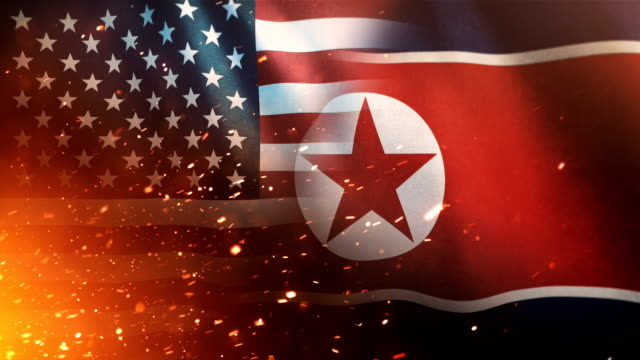 us flag and north korean flag - crisis / conflict (loop) - north korea stock videos & royalty-free footage