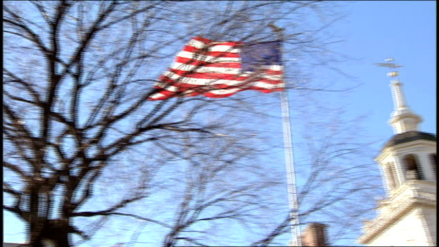 flag and roof of independence hall in philadelphia pa - independence hall stock videos and b-roll footage