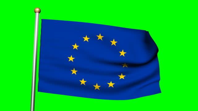 eu 国旗の 3 d アニメーション、グリーンスクリーンハイビジョン - 欧州連合旗点の映像素材/bロール