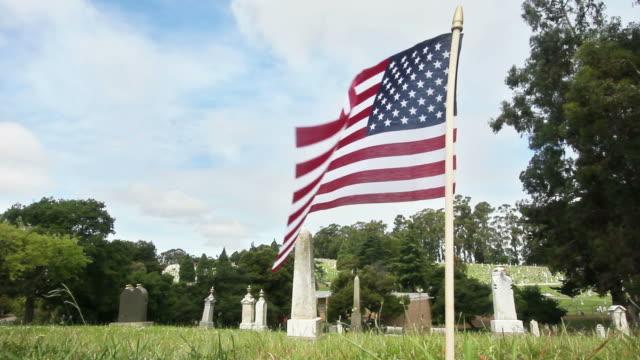 USA Flag at Cemetery (HD)