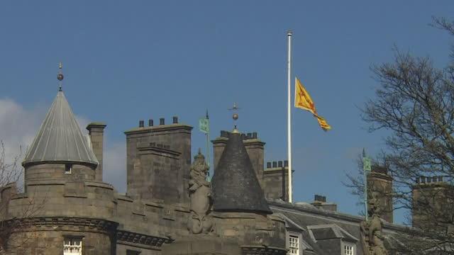 "flag at half mast at holyrood palace, edinburgh, following the death of prince philip, duke of edinburgh - ""bbc news"" stock videos & royalty-free footage"