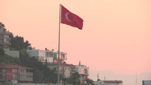 Flag at Sunset, Kusadasi, Turkey