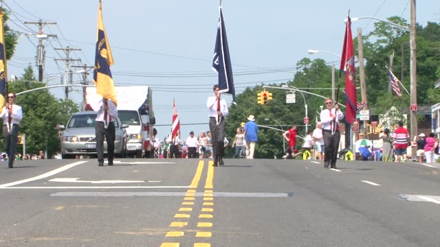 flag bearers and fire trucks in the annual little neckdouglaston memorial day parade on may 28 2012 in little neck/douglaston new york - us memorial day stock videos & royalty-free footage