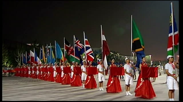 flag bearers holding international flags including union jack at rehearsals for opening ceremony - opening ceremony stock videos & royalty-free footage