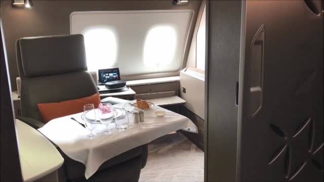 flag carrier singapore airlines receives its latest airbus a380 jumbo jet which features ultra luxurious suites that can be combined to form a double... - double bed stock videos & royalty-free footage