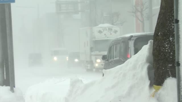 flag fluttering in blizzard, hokkaido, japan - 通路点の映像素材/bロール