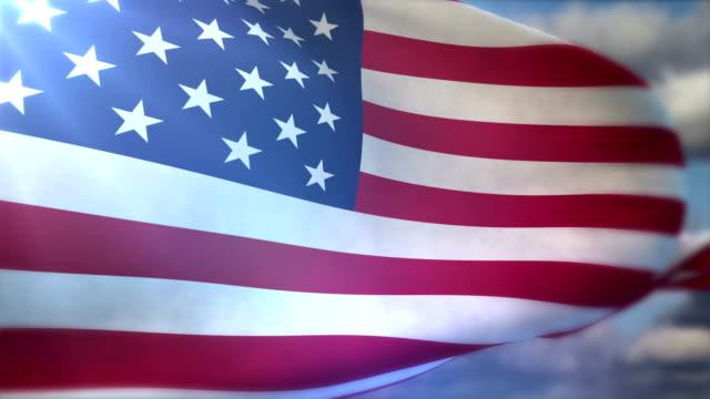 USA flag fluttering on the wind
