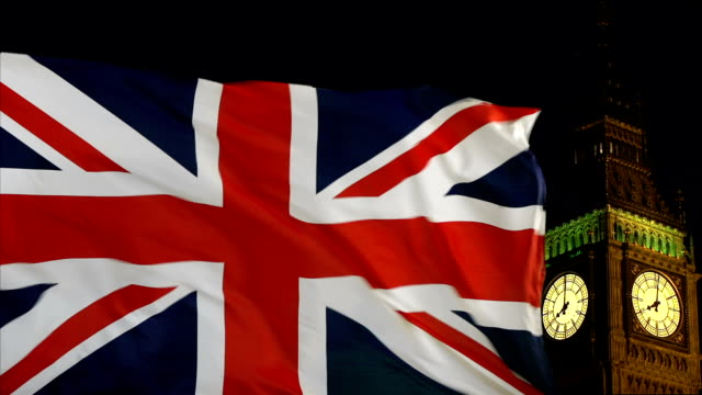 UK Flag flying in front of Big Ben, London - Real footage, not CGI
